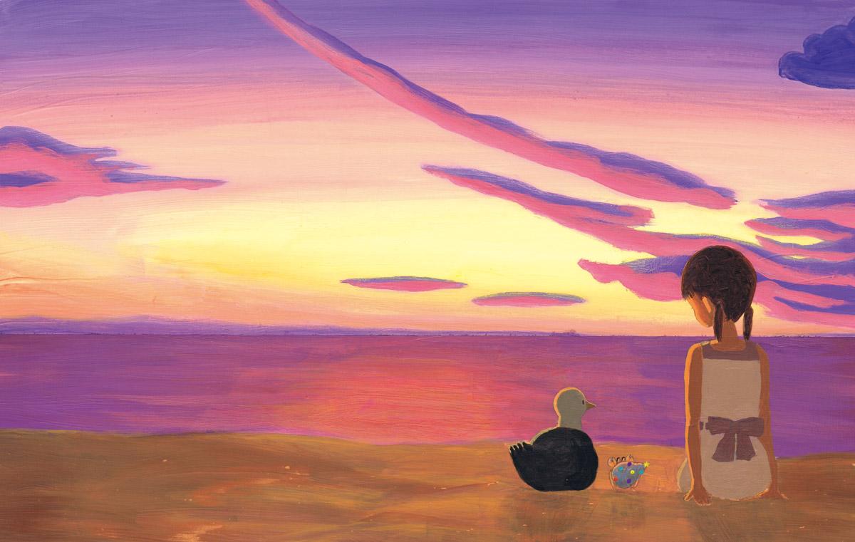 美しい海辺の夕暮れ。やどかりカーリーとカモメと女の子は友達になりました。おしまい。